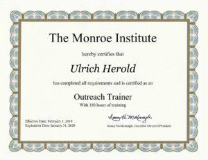 Akkreditierung Trainer des Monroe Instiituts